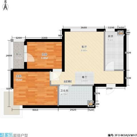 保利花园第六区2室0厅1卫1厨72.00㎡户型图