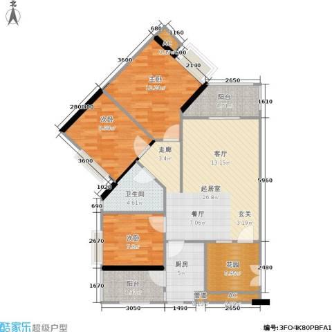 时代玫瑰园3室0厅1卫1厨89.00㎡户型图
