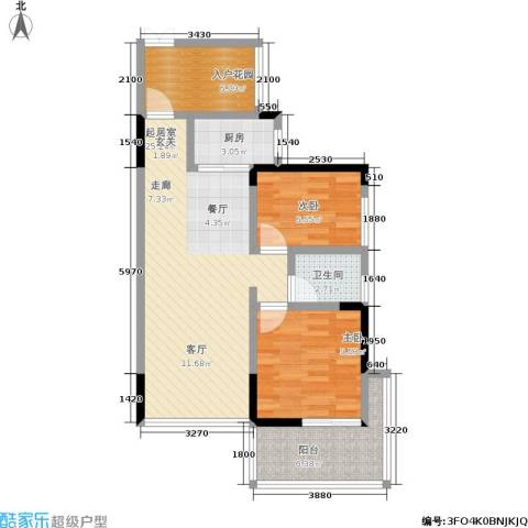 城投・七里香榭2室0厅1卫1厨70.00㎡户型图