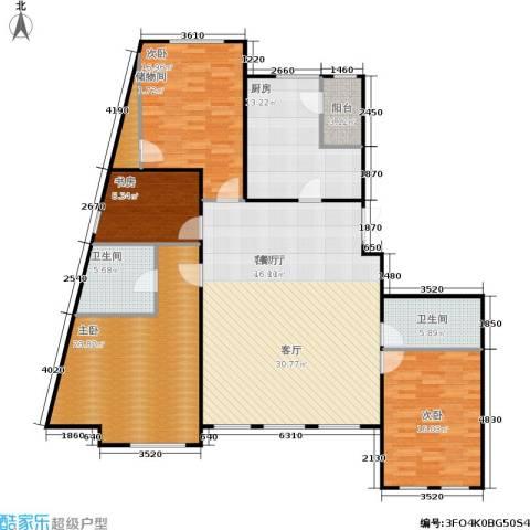 五里河城4室1厅2卫1厨222.00㎡户型图