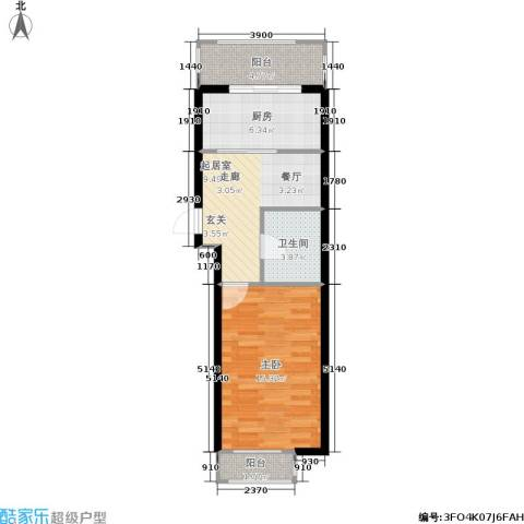 瀚博西耶纳1室0厅1卫1厨59.00㎡户型图
