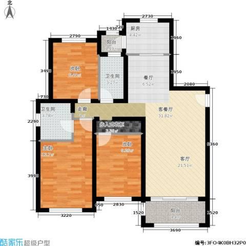 罗曼・松鼠湾3室1厅2卫1厨92.00㎡户型图