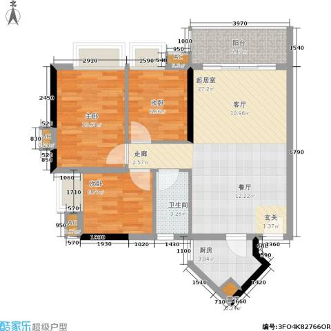 金碧世纪花园3室0厅1卫1厨90.00㎡户型图