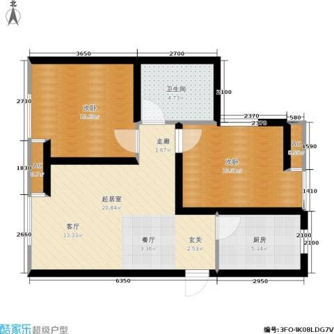 大通一番街2室0厅1卫1厨76.00㎡户型图