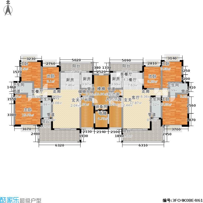 恒创恒福花园9栋标准层平面图户型