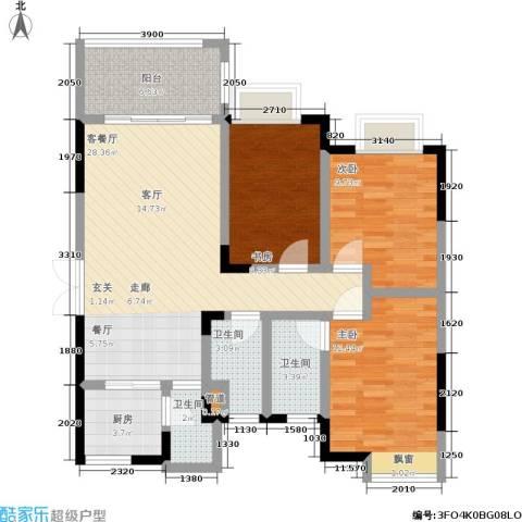 恒创恒福花园3室1厅3卫1厨95.00㎡户型图