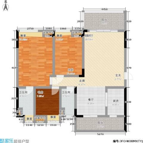 恒创恒福花园3室1厅2卫1厨123.00㎡户型图