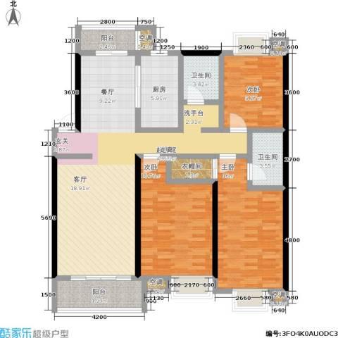 岸上玫瑰 岸上玫瑰 政务区 合肥3室0厅2卫1厨104.48㎡户型图