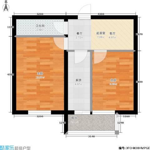 东方御景2室0厅1卫1厨60.00㎡户型图