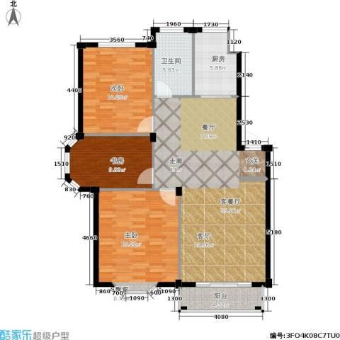 观山满庭芳3室1厅1卫1厨134.00㎡户型图