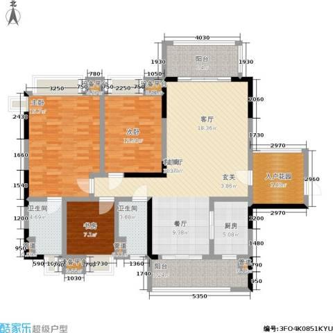 恒创恒福花园3室1厅2卫1厨124.00㎡户型图