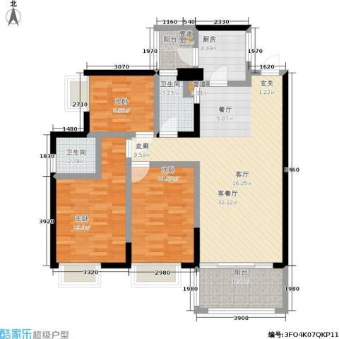 恒创恒福花园3室1厅2卫1厨99.00㎡户型图