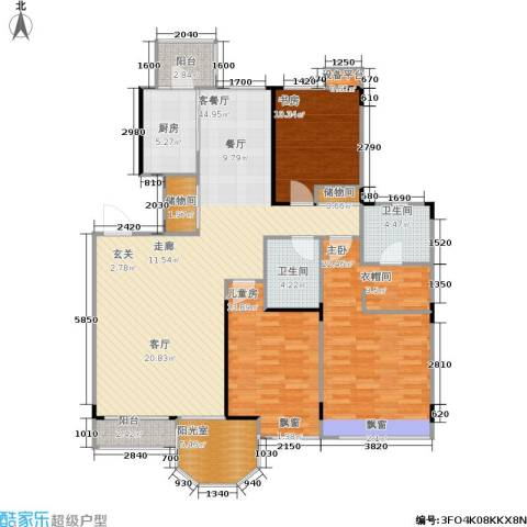 中远颐和丽园3室1厅2卫1厨130.00㎡户型图