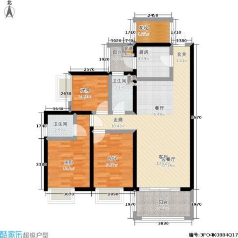 恒创恒福花园3室1厅2卫1厨95.00㎡户型图