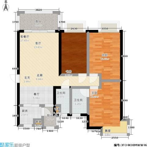 恒创恒福花园3室1厅2卫1厨93.00㎡户型图