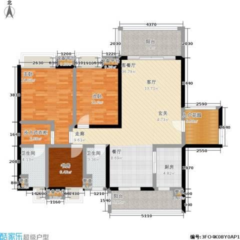 恒创恒福花园3室1厅2卫1厨125.00㎡户型图