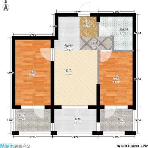 金沙水木城典2室1厅1卫1厨80.00㎡户型图