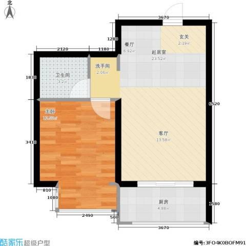 瀚博西耶纳1室0厅1卫1厨46.00㎡户型图