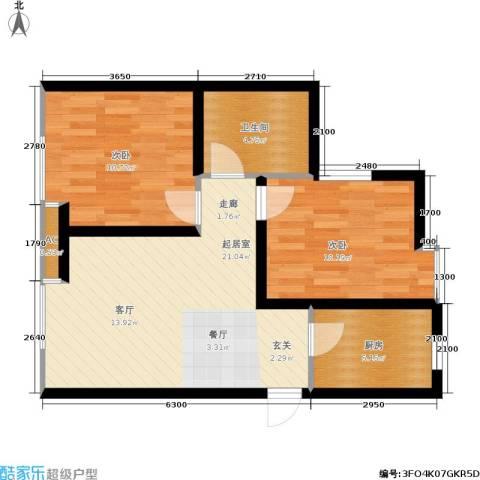 大通一番街2室0厅1卫1厨75.00㎡户型图