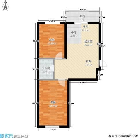瀚博西耶纳2室0厅1卫1厨62.09㎡户型图