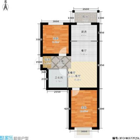 金沙水木城典2室1厅1卫1厨70.00㎡户型图