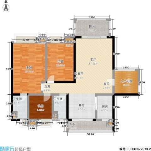 恒创恒福花园3室1厅2卫1厨129.00㎡户型图