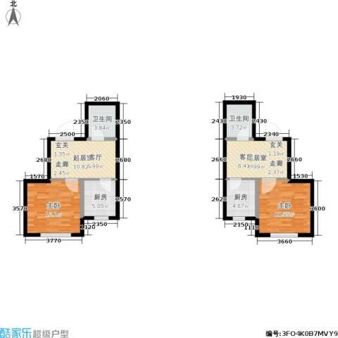 鑫丰又一城2室0厅2卫2厨62.04㎡户型图