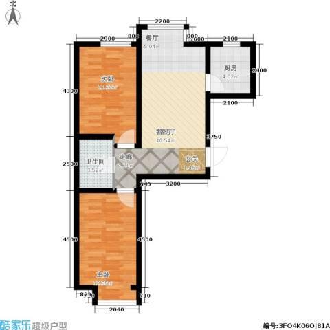 金鼎阳光苑2室1厅1卫1厨76.00㎡户型图
