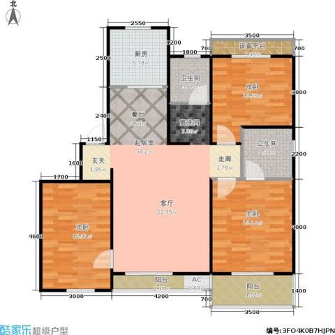 阳光洛可可3室0厅2卫1厨126.00㎡户型图