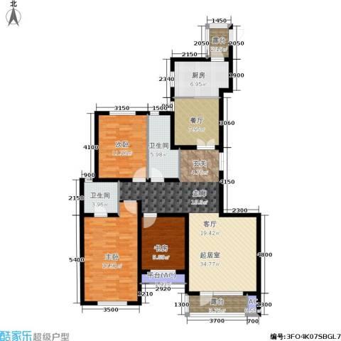 千缘爱在城3室1厅2卫1厨143.00㎡户型图