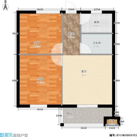 聚贤雅苑2室1厅1卫1厨65.00㎡户型图