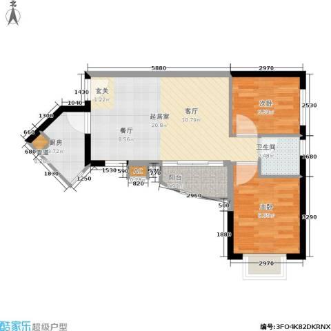 金碧世纪花园2室0厅1卫1厨65.00㎡户型图