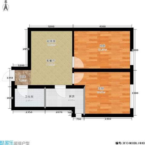 千缘爱在城2室0厅1卫1厨64.00㎡户型图