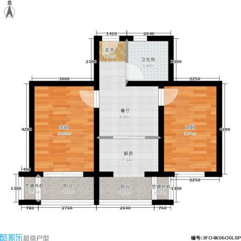 金沙水木城典2室1厅1卫1厨66.00㎡户型图