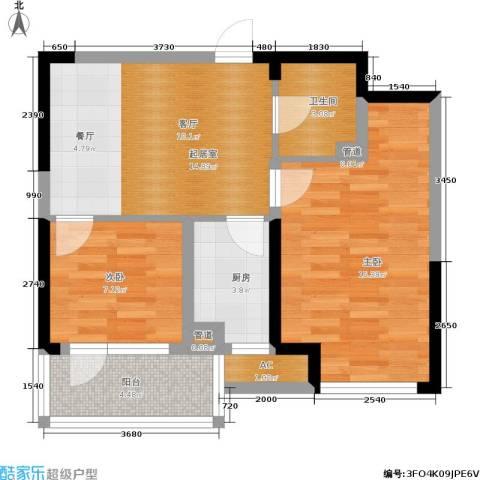 绿地老街坊三期 绿地国际花都2室0厅1卫1厨73.00㎡户型图