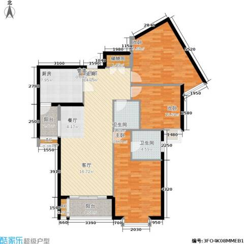 紫薇田园都市三期3室0厅2卫1厨120.00㎡户型图