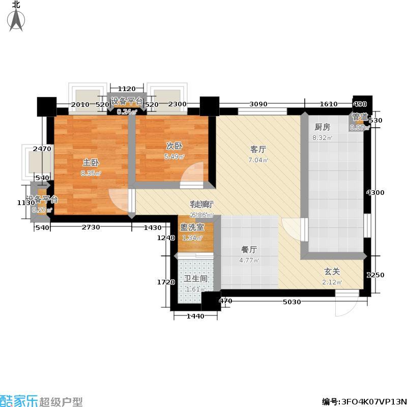 正商世纪港湾户型2室1厅1卫1厨