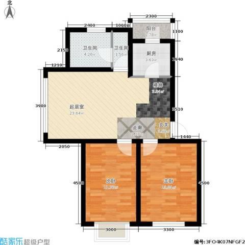 金沙水木城典2室0厅2卫1厨86.00㎡户型图