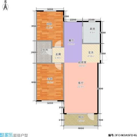 亚瑟蓝湾2室0厅1卫1厨79.00㎡户型图