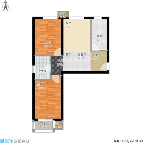 东风小区2室1厅1卫1厨76.00㎡户型图