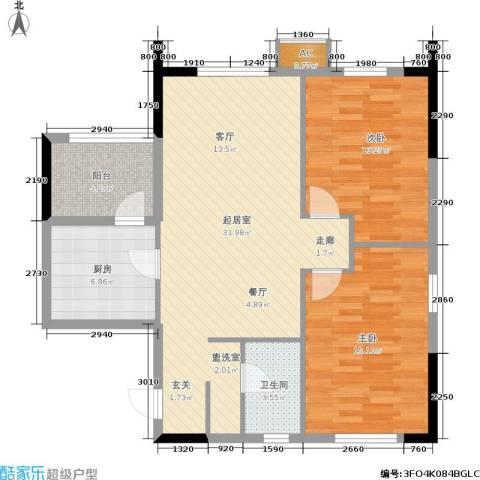雪松新城2室0厅1卫1厨85.00㎡户型图