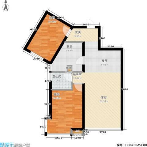 新世界花园湾景华庭2室0厅1卫1厨90.00㎡户型图