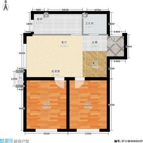 博客地带2室0厅1卫1厨85.00㎡户型图