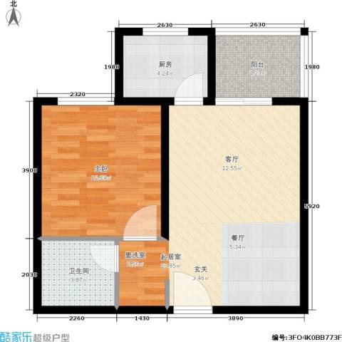 绿城都市花园1室0厅1卫1厨69.00㎡户型图