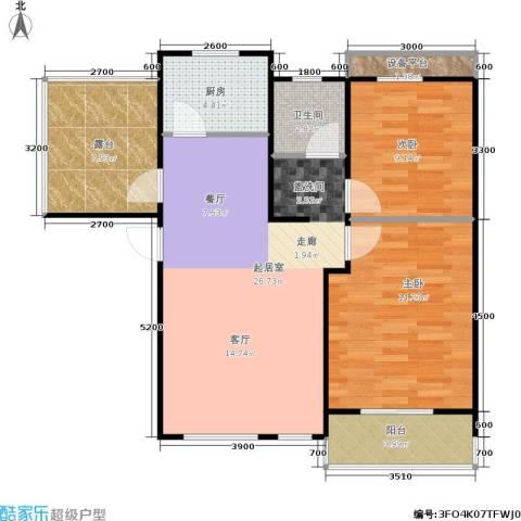 阳光洛可可2室0厅1卫1厨96.00㎡户型图