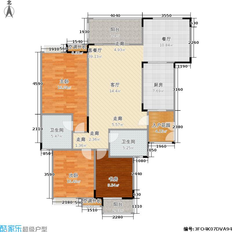 福江・名城名城104.42㎡一期2号楼4单元3层1号房3室户型