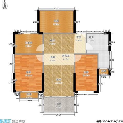 天泓山庄2室0厅1卫1厨91.00㎡户型图