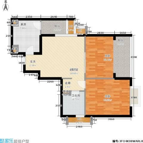 紫薇田园都市三期2室0厅1卫1厨87.00㎡户型图