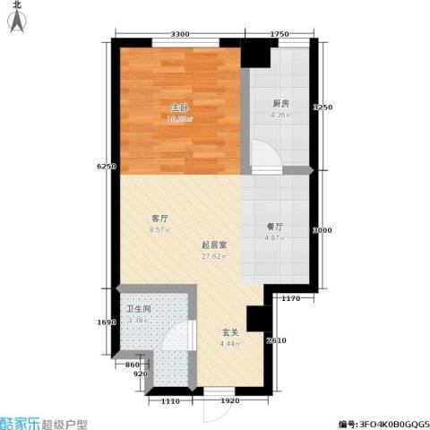 银河国际住宅1卫1厨44.00㎡户型图