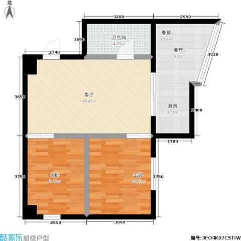 银河国际住宅2室1厅1卫0厨66.00㎡户型图